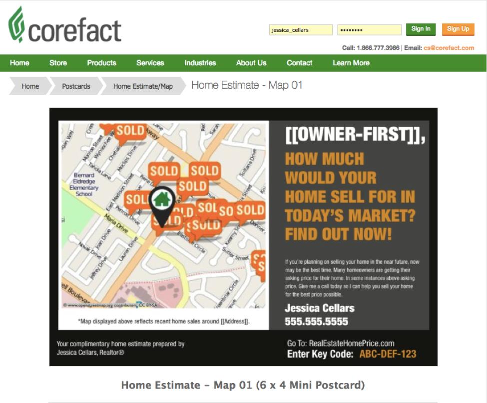 Corefact's Home Estimate Map post card