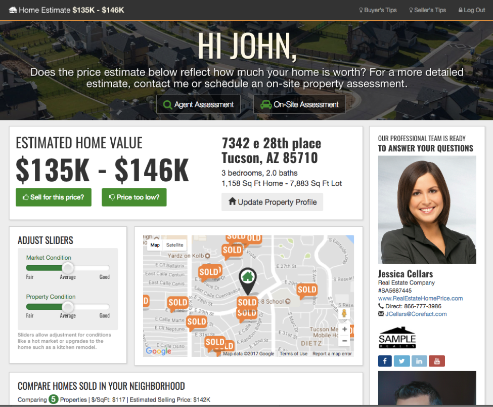 Screen shot of your branding on the Real Estate Home Estimate website
