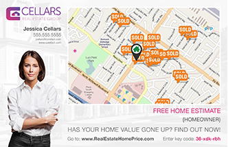 Image of a customized Home Estimate Map Postcard